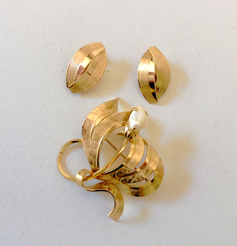 Vintage Set Marked Germany Earrings & Brooch