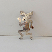 Vintage Signed Sterling Silver Moose Brooch
