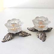 Vintage Silver Plate Candle Holders Italy