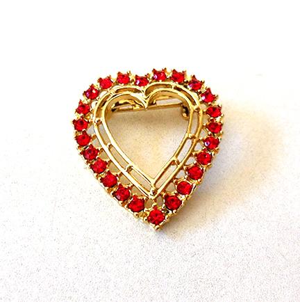 Vintage Red Rhinestones Heart Brooch Pin