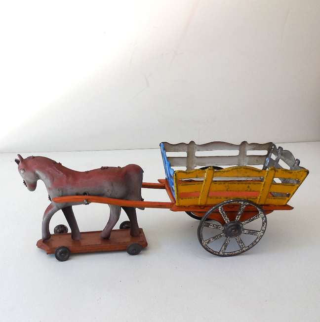 Very Old German Tin Toy Horse and Cart