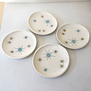 (4) Atomic Franciscan Starburst Bread Plates 6""