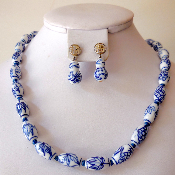 Vintage Blue Delft Necklace and Earrings Set