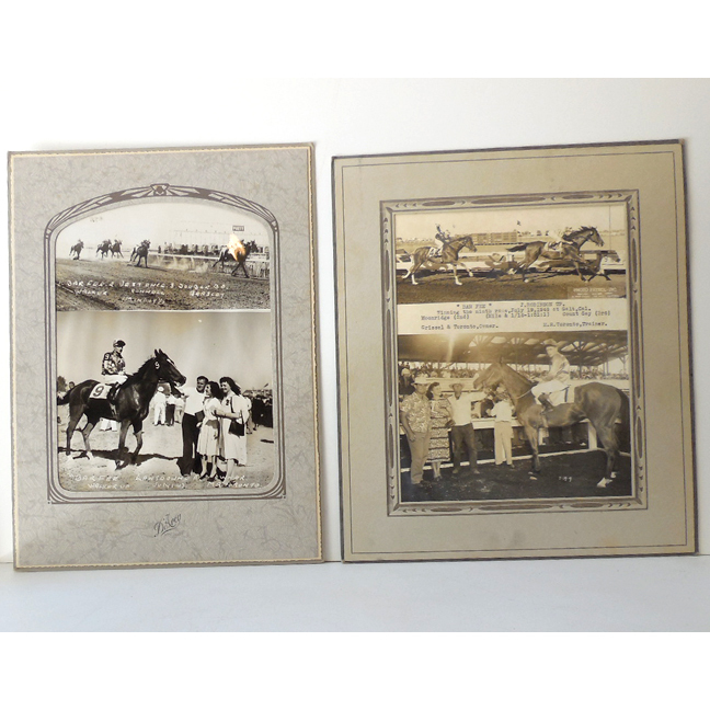 (2) 1940s Race Horse Photographs In Deco Frames B