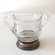 Victorian Open Sugar Bowl Etched Glass & Silverplate