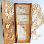 Victorian Glove or Hankie Wood Box w/ Contents