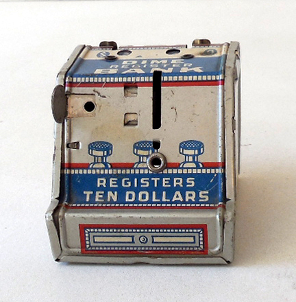 Vintage J Chein Tin Litho Dime Register Bank