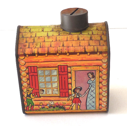 Vintage Log Cabin Syrup Advertising Tin Bank