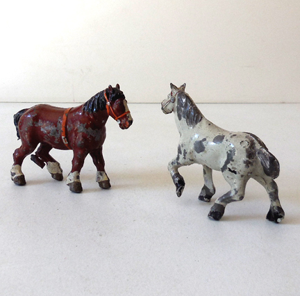 (2) Small Old Metal lead Horses France and England