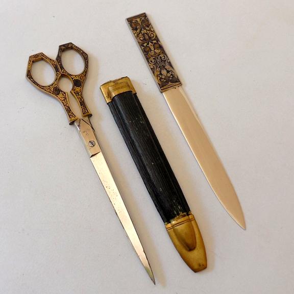 antique scissors letter opener in sheath germany