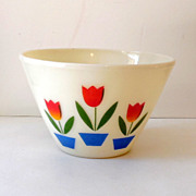Large Vintage Fire King Mixing Bowl Tulips