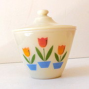 1950s Fire King Milk Glass Tulips Grease Jar w/ Lid