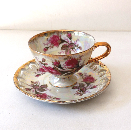 Royal Sealy China Cup & Saucer Japan Pink Roses Lusterware