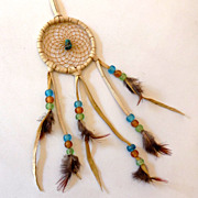Vintage Navajo Dream Catcher w/ Turquoise Stone