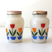 1950s Fire King Milk Glass Tulips Salt & Pepper Shakers