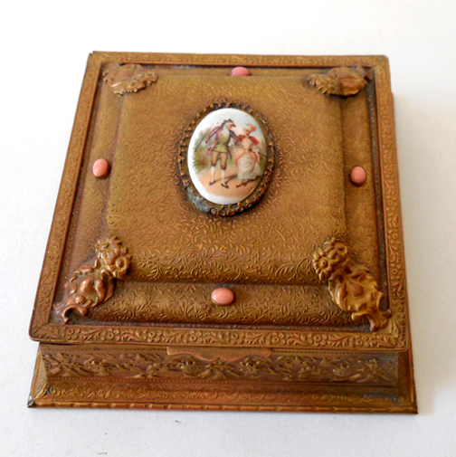 Fabulous 1920s Jeweled Metal Vanity Box