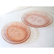 (2) Jeannette Pink Depression Glass Platters Poinsettia