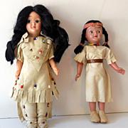 2 Vintage Native American Indian Plastic Dolls