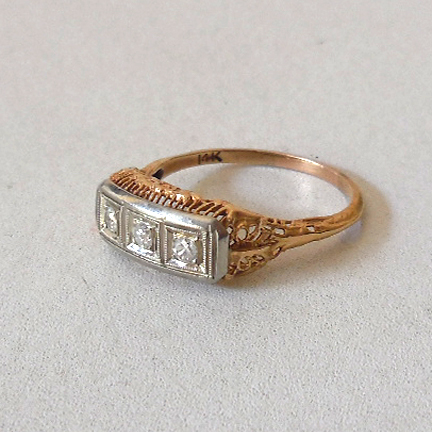 Estate 14k Yellow & White Gold and 3 Diamonds Ring