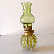 Vintage Miniature Oil Lamp Yellow/Green