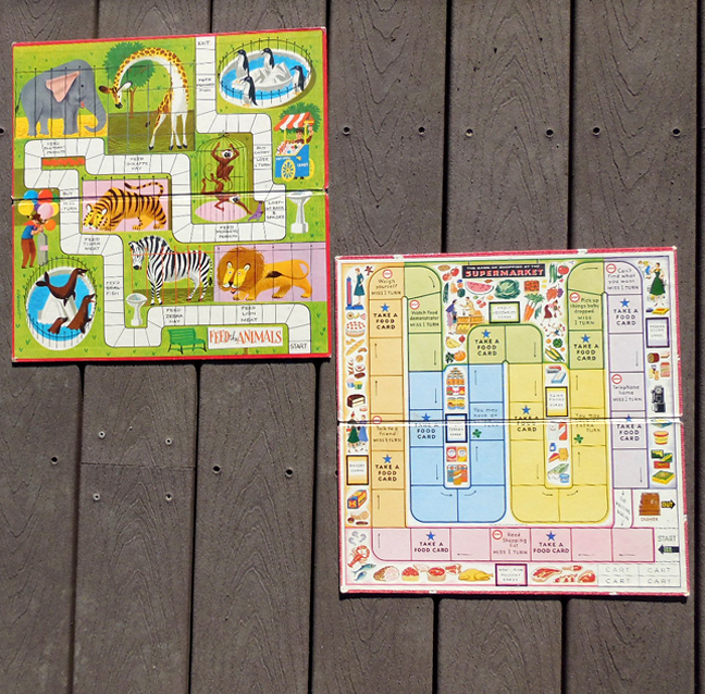 (2) Vintage 1950s Whitman Toys Board Game Boards