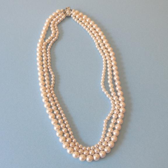Vintage Triple Strand Faux Pearl Necklace Japan