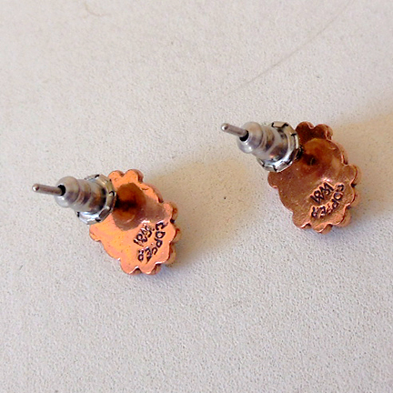 Small Vintage Copper & Turquoise Post Earrings from ...