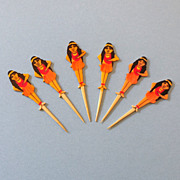 Very Rare Set (6) 1930s Hula Girl Cocktail Picks