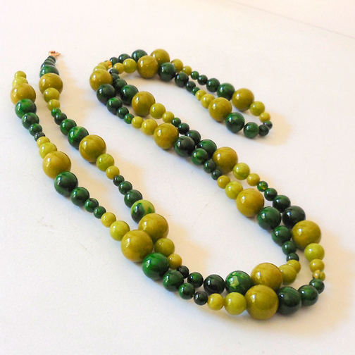 Vintage 60 Inch Green Beads Necklace