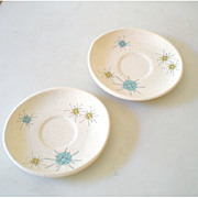 (2) 1950s Atomic Franciscan Starburst Pattern Saucers