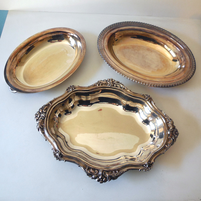 (3) Large Vintage Silver Plate Serving Bowls