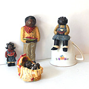 (4) Black Americana  Resin Figurines