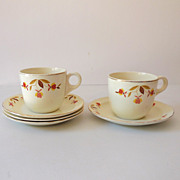 (4) Sets Hall Dunbar Jewel T Autumn Coffee Cups & Saucers