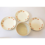 (3) Plates & 1 Bowl Hall Jewel T Autumn Leaf