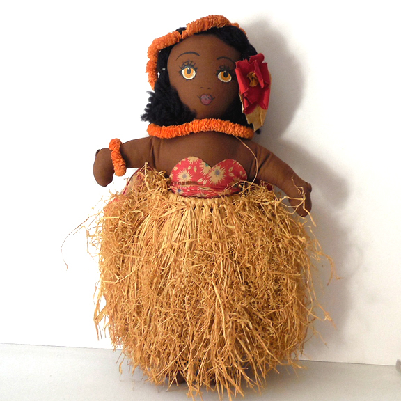 1940s Hand Made Hawaiian Cloth Hula Girl Doll