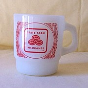 Vintage Anchor Hocking Advertising Mug State Farm Insurance