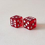 Pair Cherry Red Prystal Bakelite Gambling Casino Dice