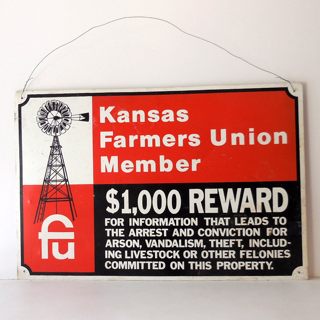 Vintage Tin Reward Warning Sign Kansas Farmers Union