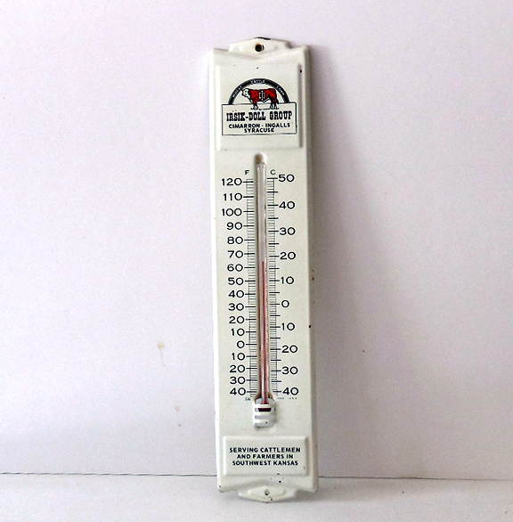 Vintage Advertising Thermometer Cattle Wheat Corn