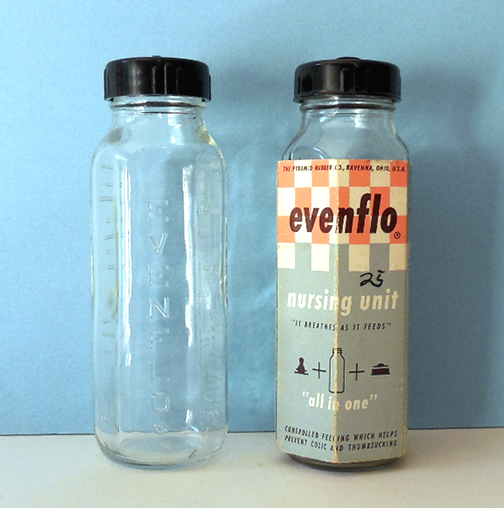 (2) 1956 Evenflo Glass Baby Bottles 1 In Original Packaging