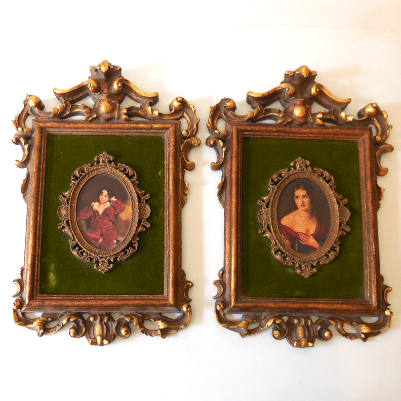 Pair Victorian Revival Pictures in Fancy Frames