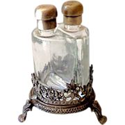 Vintage Footed Metal Perfume Holder With Two Bottles