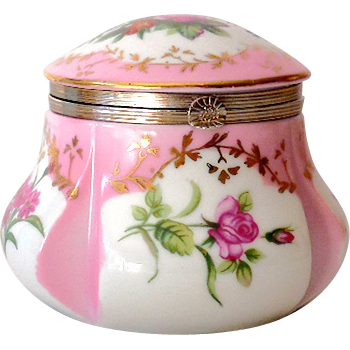 "Vintage  Lidded Vanity Box Pink Flowers Marked ""RS"""