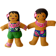Vintage Pair Hawaiian Plush Dolls
