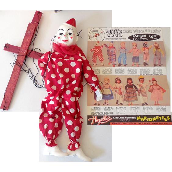 1950s Hazelle's Marionette Puppet In Original Box Teto