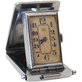 Small Folding Art Deco Travel Pocket Clock Working