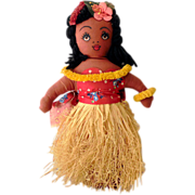 Vintage 1940s Hand Made Hawaiian Cloth Hula Girl Doll