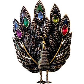 Large Jeweled Peacock Brooch Pendant