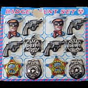 (12) Vintage Toy Cowboy Sheriff & Police Tin Badges on Card