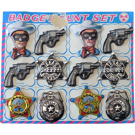 (12) Vintage Toy Cowboy Sheriff & Police Tin Badges on Card